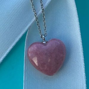 """Tiffany & Co. Pink Rhodonite Heart Necklace 16"""""""